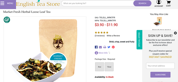 Personalized offers from English Tea Store