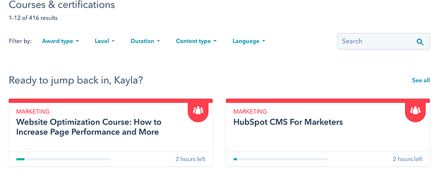 Personalized courses from HubSpot Academy.