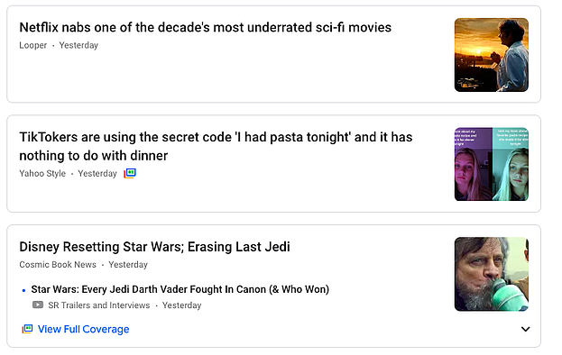 Google News personalized news sources.