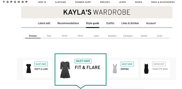 A Topshop personalized wardrobe.