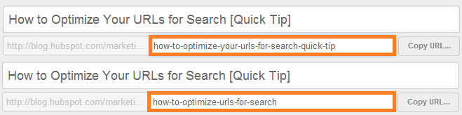"url slug that reads ""how-to-optimize-your-urls-for-search-quick-tip"" vs. a better example that reads ""how-to-optimize-urls-for-search"""