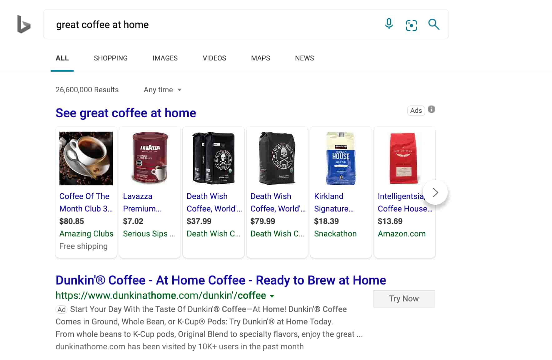 great coffee at home bing ppc ad example
