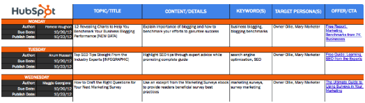 blog editorial calendar in excel for topic planning