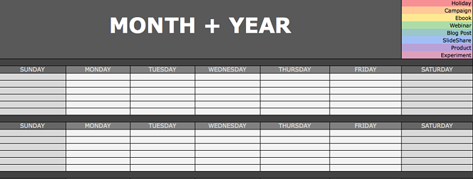 social media content calendar in excel with color coding for type and slots for each day