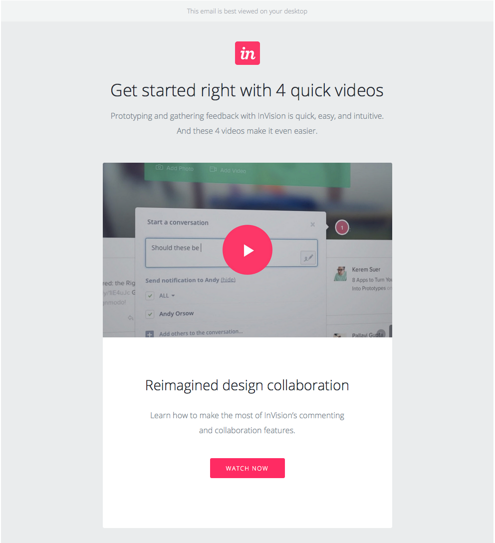 InVision welcome email with link to watch video