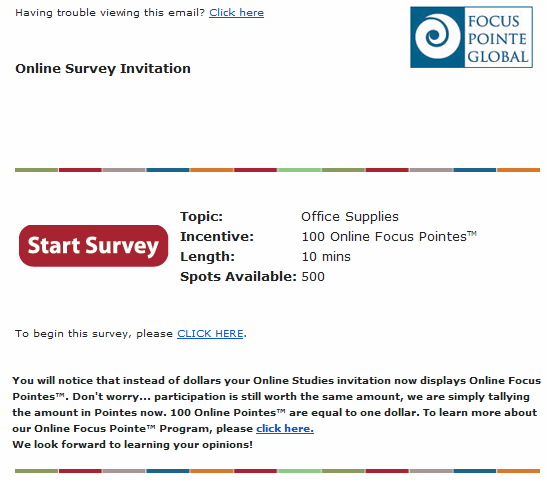 """focus pointe copywriting and cta email that includes section for topic, incentive, length, and spots available along with a cta email that reads """"start survey"""""""