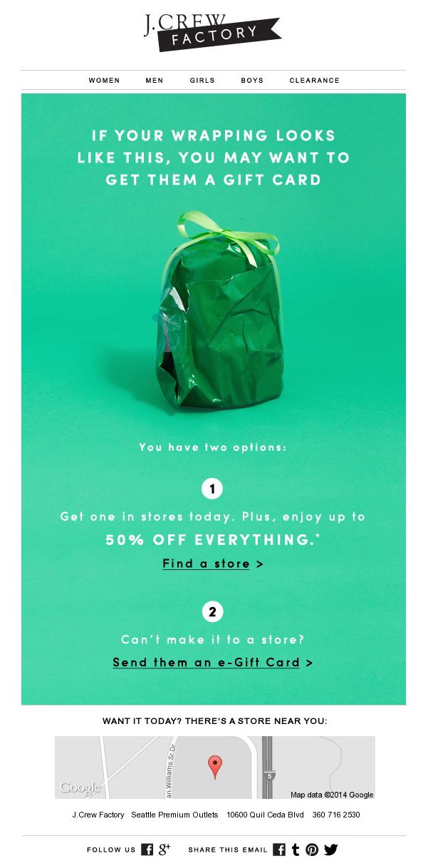 j.crew factory email that reads 'if your wrapping looks like this, you may want to get them a gift card' with an image of a bad wrapping job barely concealing what's obviously a backpack