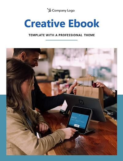 """example page from the professional theme that reads """"creative ebook template with a professional theme"""" along with a photo in the center and banded blue background"""