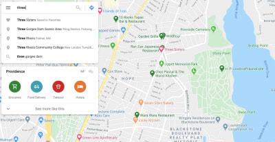 Google Maps displays a 'Favorite' location when a user searches for 'three'