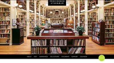 Providence Athenaeum homepage - full-sized photo of library and rows of books