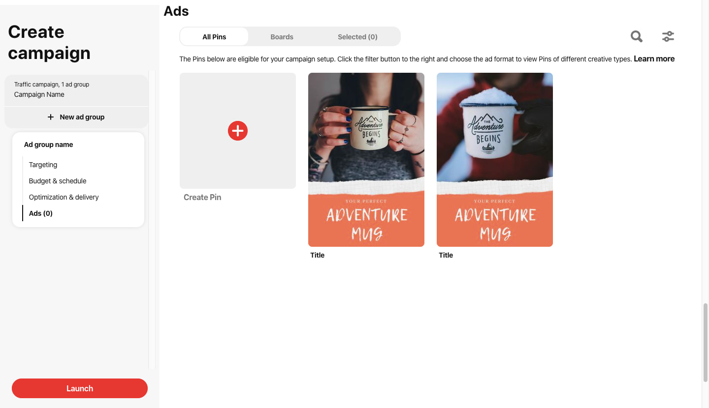 launch pinterest a/b test campaign