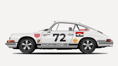 The final illustration of the Porsche 911 that we'll be creating in this tutorial.