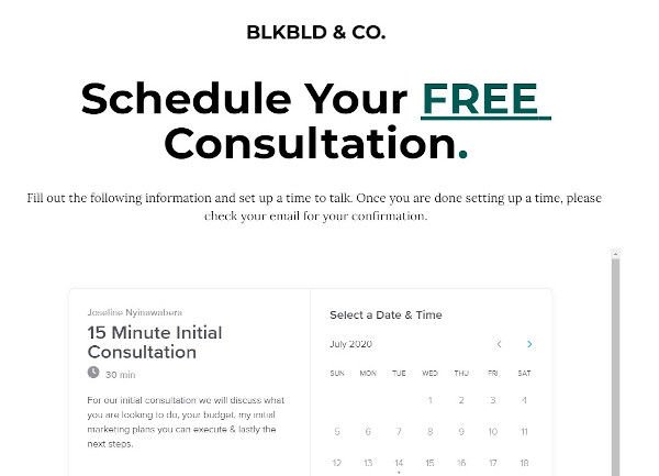 """consultation offer from blkbld & co that reads 'for our initial consultation, we will discuss what you are looking to do, your budget, my marketing plans you can execute & lastly the next steps"""""""