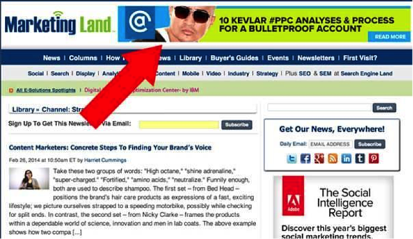 "remarketing ad at the top of a page that says ""10 kevlar ppc analyses and process for a bulletproof account"""