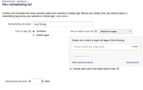 new remarketing list interface within google ads