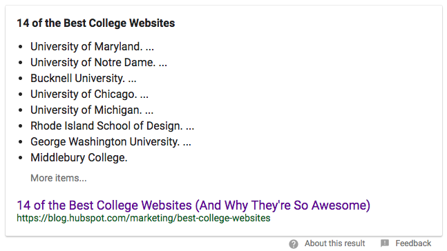 example of a featured list snippet that provides a list for the query 'best college websites'