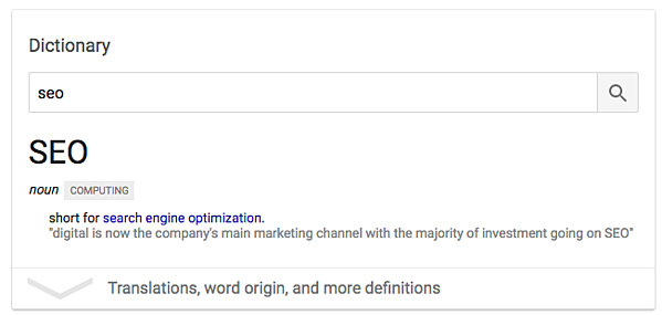 example of a rich answer featured snippet displaying the dictionary definition for 'seo'