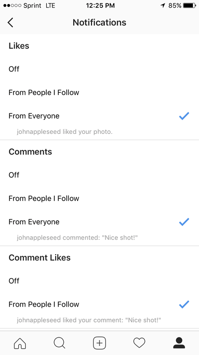 notifications option within instagram settings with sections for likes, comments, and comment likes