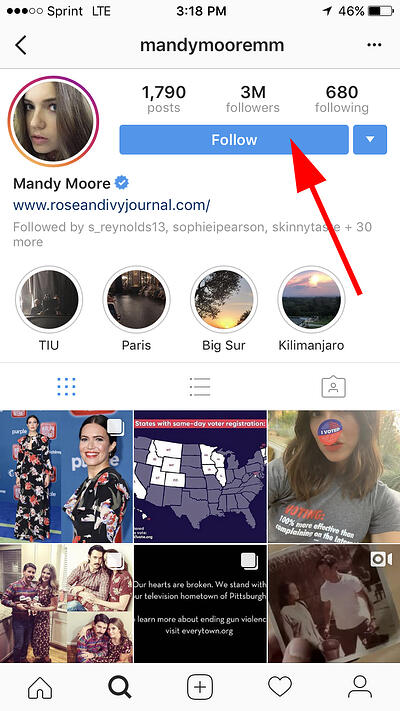 follow button on mandy moore's profile on instagram