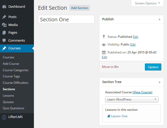 LifterLMS Section
