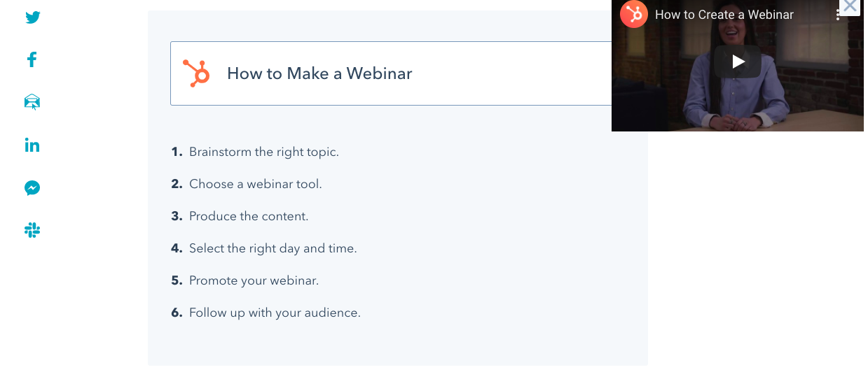 An example of a webinar embedded into a blog post.