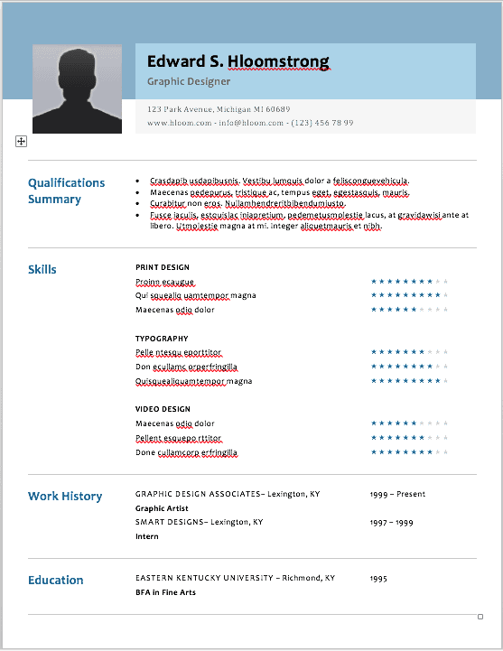 Social media marketing resume template