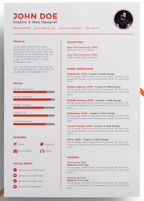 Resume template with photo space on the top right