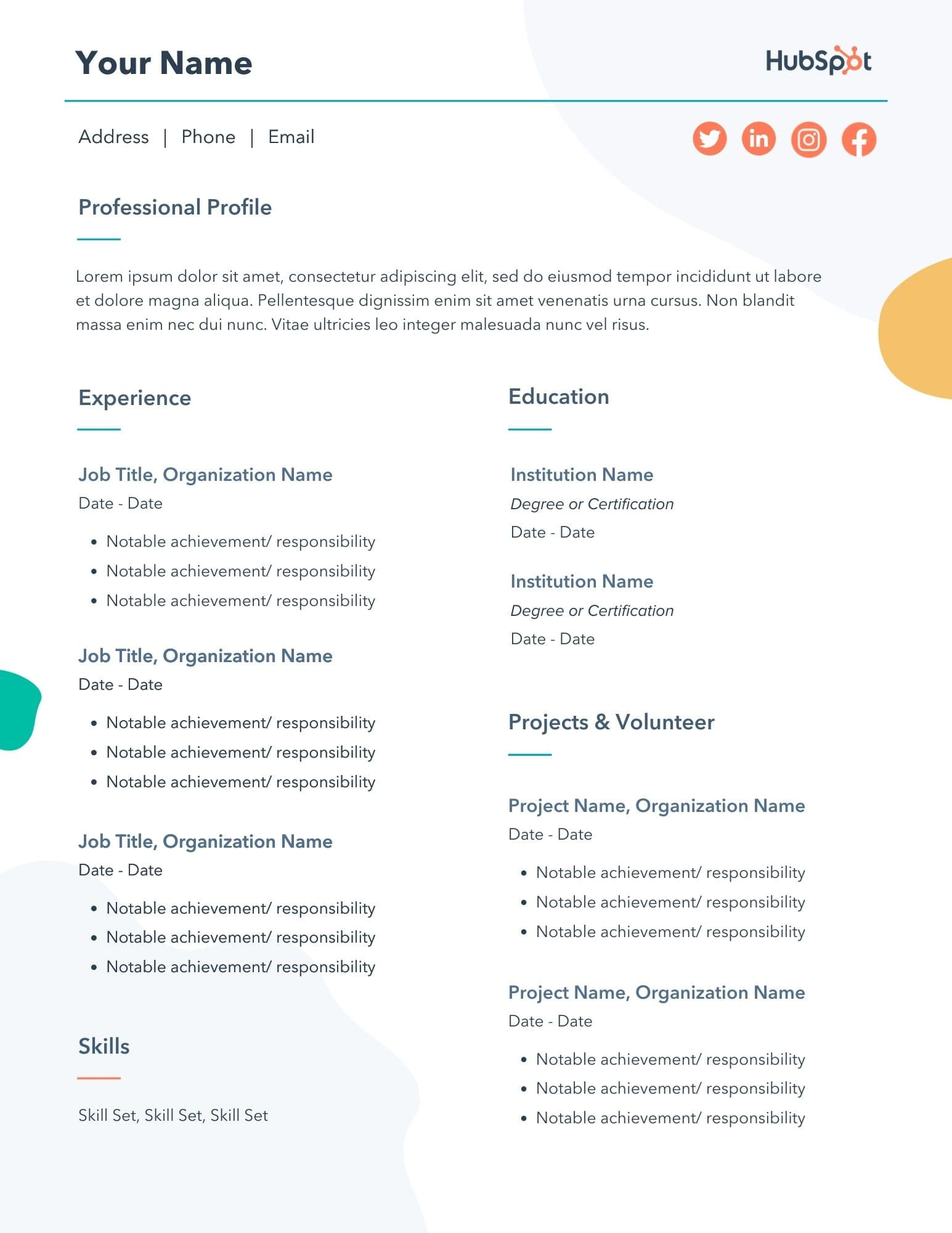 free editable resume word pdf template