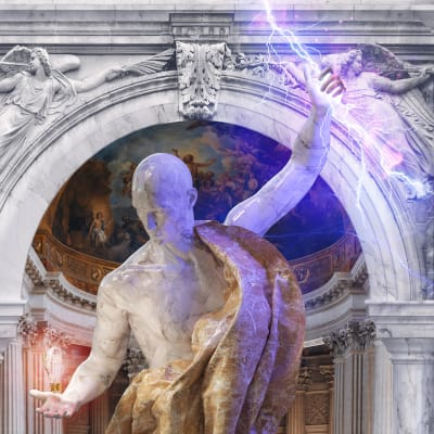 A realistic collage featuring a 3D sculpture holding lightning in his left hand and light bulbs his right hand