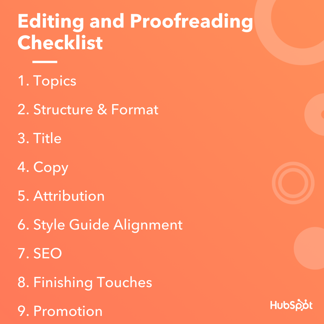 editing and proofreading checklist graphic