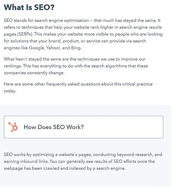 example of an faq blog post that contains multiple questions about seo and their answers