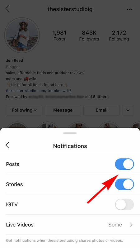 someone's instagram account to get notifications when influencers post