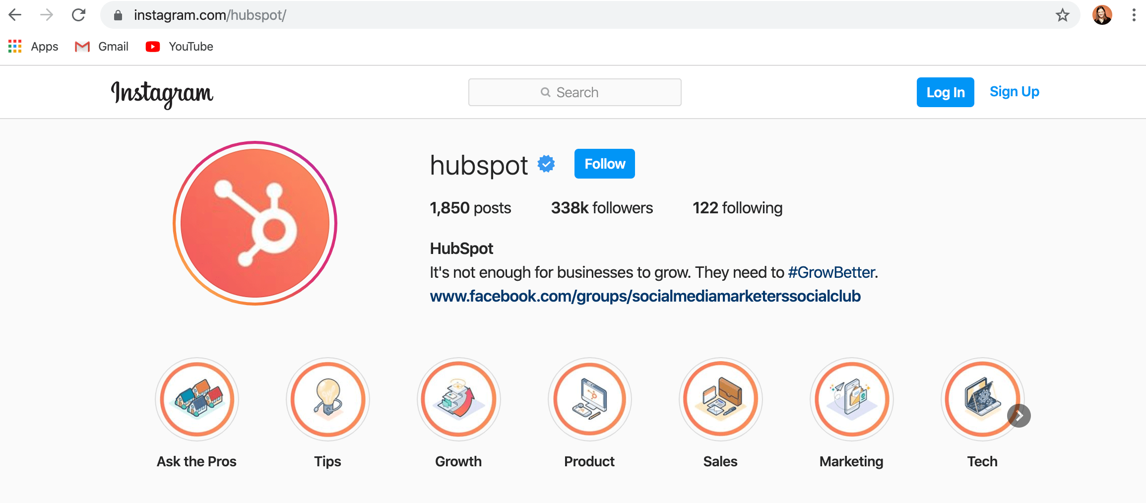 desktop version of hubspot instagram account