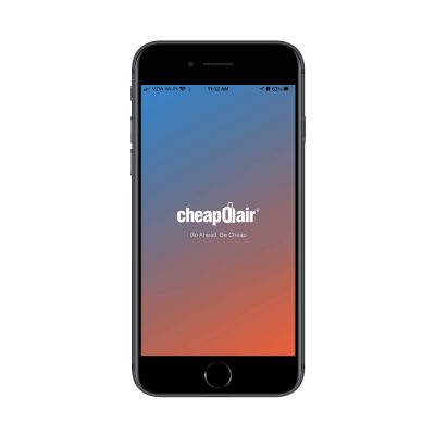 CheapOair mobile app opening splash screen with logo