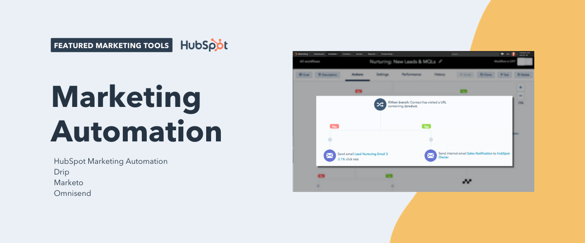 marketing automation tools, including hubspot marketing automation, drip, marketo, and omnisend