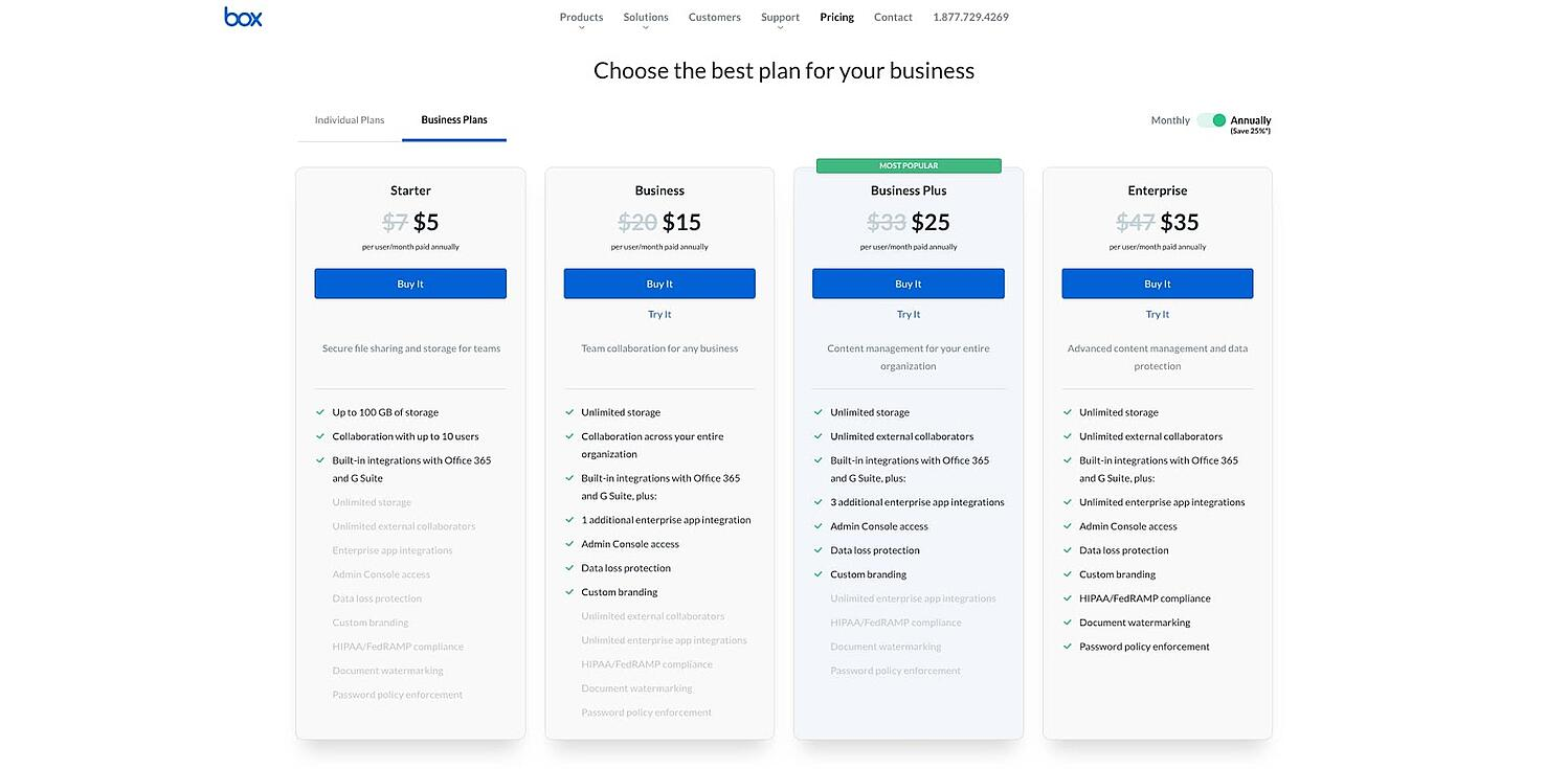 pricing page for Box.com