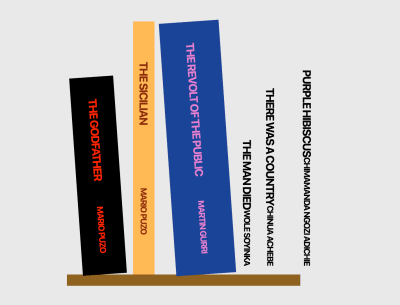 A screenshot of the change to the demo Bookshelf after styling the third book with CSS Modules