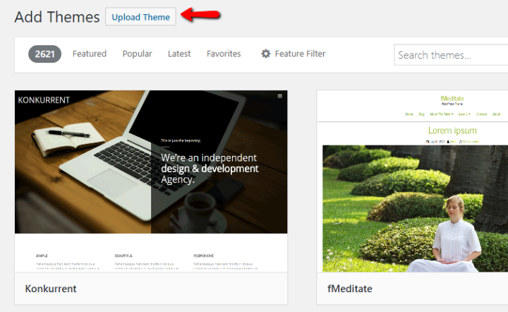 how to upload wordpress theme