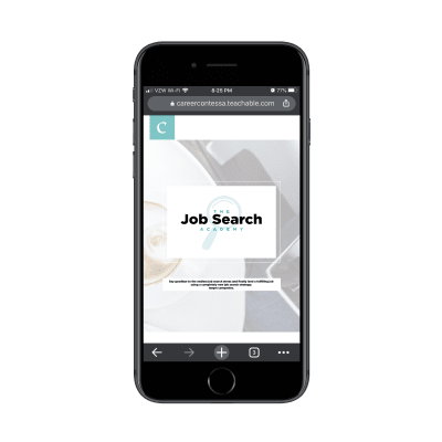The Job Search Academy program page from the Career Contessa