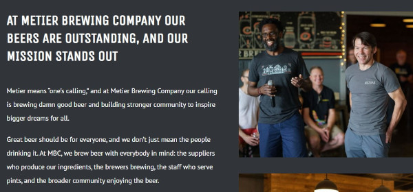 metier brewing company's brand messaging: at metier brewing company our beers are outstanding, and our mission stands out