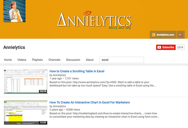Excel video tutorials by Annielytics
