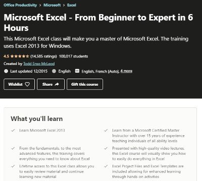 udemy's microsoft excel course - from beginner to expert in 6 hours