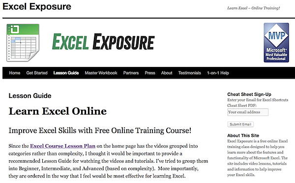 excel exposure's lesson guide