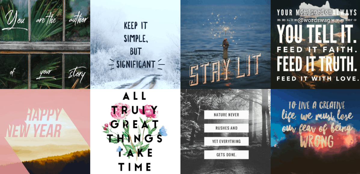 Interface of a simple Instagram quote creator