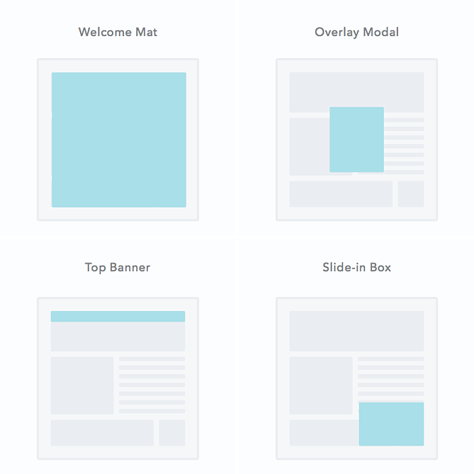 types of pop-up: welcome mat, overlay modal, top banner, slide-in box
