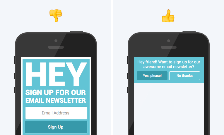 example of pop-up that's optimized for mobile and one that's not