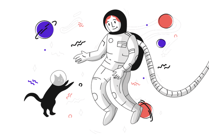 Illustration of an astronaut floating in space together with a cat.