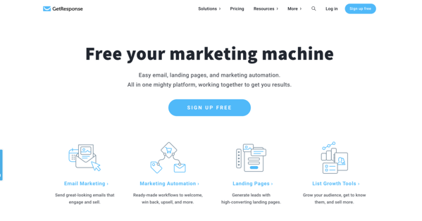 getresponse email automation software homepage