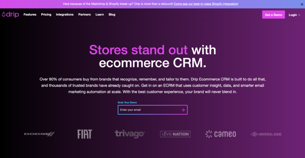 drip email automation software and ecommerce crm homepage