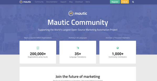 mautic open-source marketing automation homepage